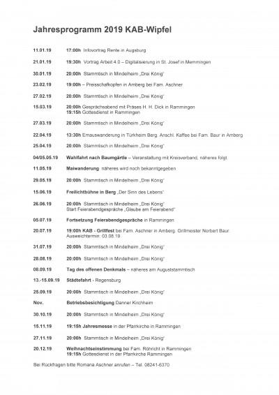 Wipfel Jahresprogramm