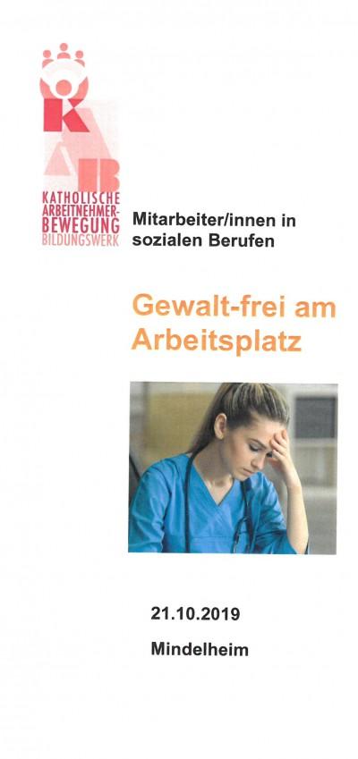Flyer Gewaltfrei am Arbeitsplatz Mindelheim.