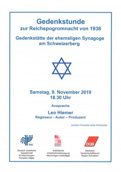 Gedenkstunde Reichspogrom 1